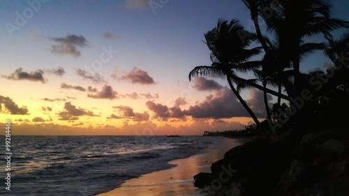 Sunrise over the beach. Tropical landscape, Punta Cana, Dominican Republic