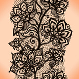 Fototapety Abstract seamless lace pattern with flowers.