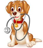 Cartoon funny dog sitting with stethoscope