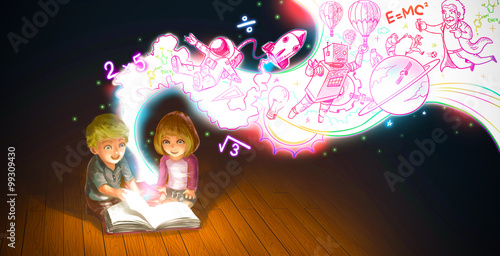 Cartoon couple boy and girl reading book while knowledge and creative imaginatio Poster