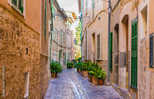 View of an street in a old mediterranean village