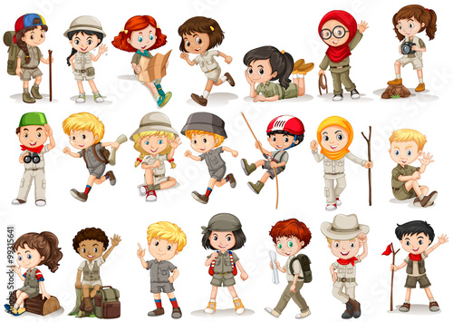 Girls and boys in camping costume - 99315641