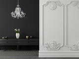 Fototapety Classic gray and white interior with a chandelier