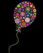 floral balloon on black background