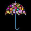 floral umbrella on black background