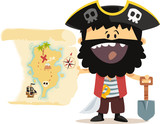 Fototapety Pirate et carte au trésor