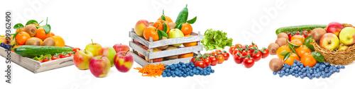 Obst und Gemüse, isoliert als Banner
