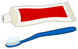 Vector illustration of a toothbrush and a tube of toothpaste.