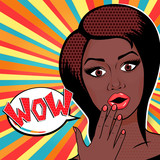Fototapety Vector illustration - Pop Art Woman WOW sign. Surprised African American Woman face with open mouth in comic style.