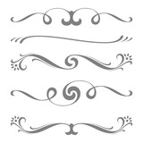 Collection of vector calligraphic lines ornaments or dividers. Retro style - 99374058