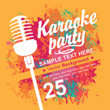 Fototapety banner with microphone for karaoke parties on the background of colored spots
