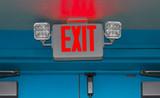 Interior door emergency exit sign and lights