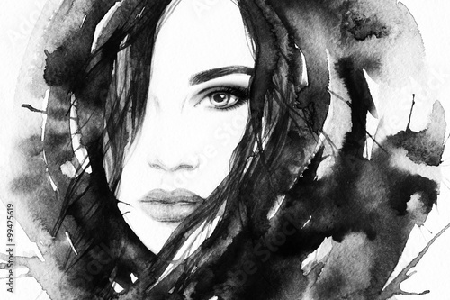 Beautiful woman face. Abstract fashion watercolor illustration © Anna Ismagilova