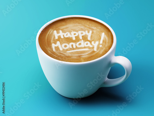 Happy Monday Coffee Cup Concept