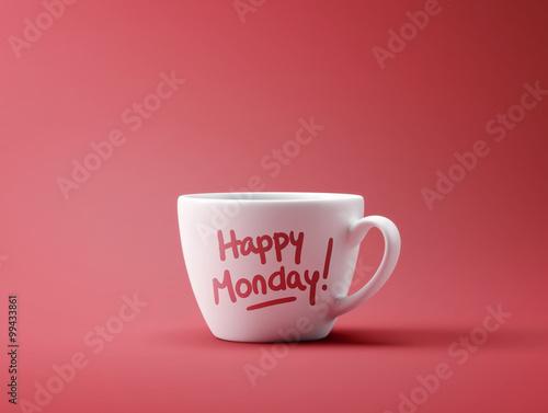 Happy Monday Coffee Cup Concept