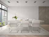 Fototapety Interior of modern design loft with big table 3D rendering 4