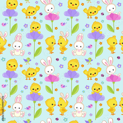 Fototapeta Seamless pattern spring with cute bunny and chicken.