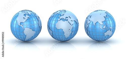 Three blue world map