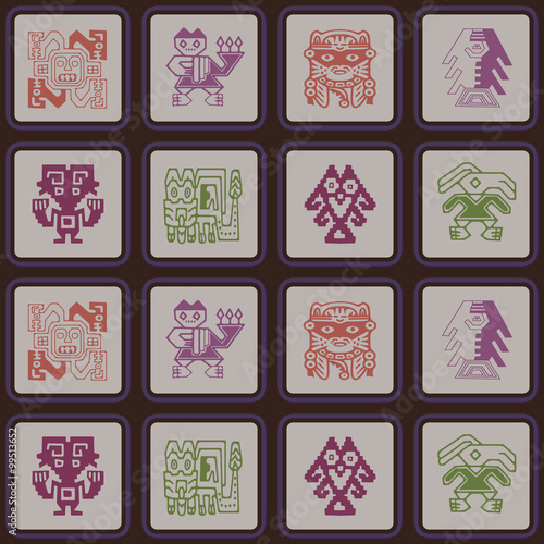 Keuken foto achterwand Nieuw Zeeland Seamless pattern with Peruvian Indians art and ethnic ornaments for your design