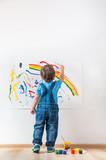 Fototapety child draws ink on paper