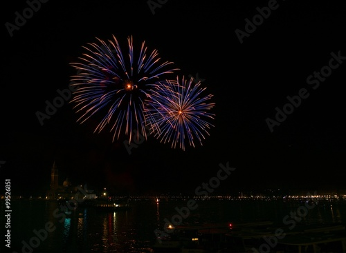 Big colorful fireworks explode in Venice in dark sky,New Year fireworks in Venic Poster