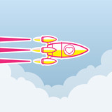 Valentine concept, Rocket , transportation vehicles, Flat style vector
