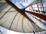 looking up at sails on a tallship