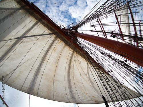 Fotobehang Zeilen looking up at sails on a tallship