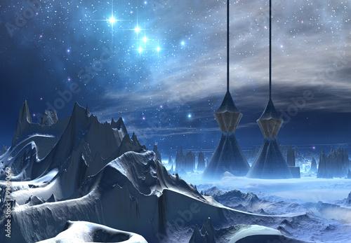 Foto op Canvas Alien Planet - Fantasy Landscape