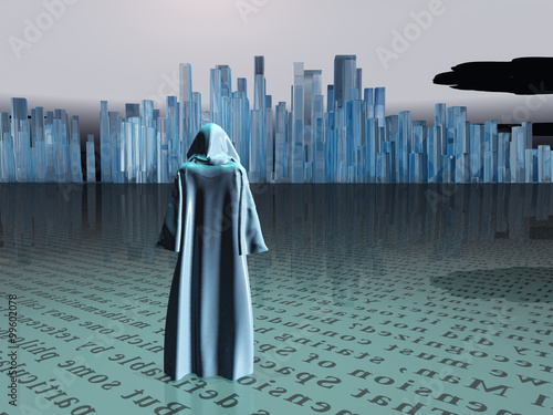 Naklejka Traveler before the great city