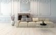 Classical light colored living room interior