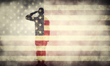 Fototapety Double exposure of saluting soldier on USA grunge flag. Patriotic design