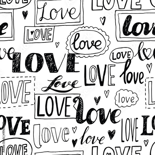 Cotton fabric LOVE. Romantic seamless pattern.