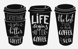 Fototapety Quote lettering on coffee paper cup shape set