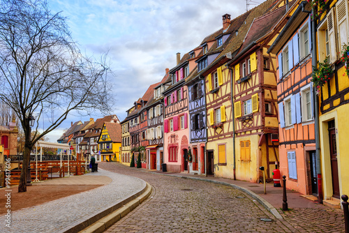 Fototapeta Colorful half-timbered houses in medieval town Colmar, Alsace, France