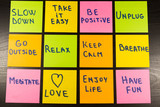 slow down, relax, take it easy, keep calm, love, enjoy life, have fun and other motivational lifestyle reminders on colorful sticky notes - 99630808