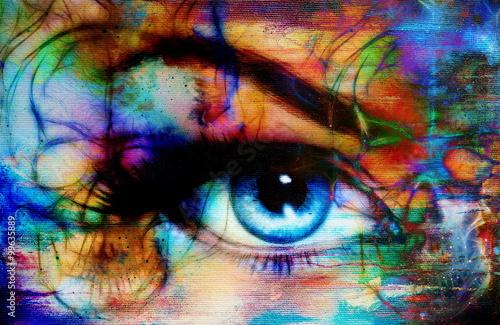 women eye and skull, computer collage, Eye contact. плакат