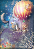 Fototapety Blue and starry background with hot air balloon