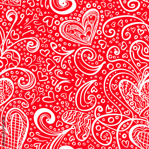 Cotton fabric Seamless Red Saint Valentine's Day Pattern Background with Artistic Hearts and Doodles