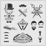 Fototapety Collection of vintage barber shop labels, logo and design element.
