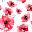 Cotton fabric Watercolor flowers seamless pattern.