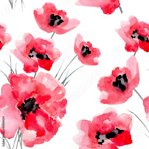 Plakát, Obraz Watercolor flowers seamless pattern.