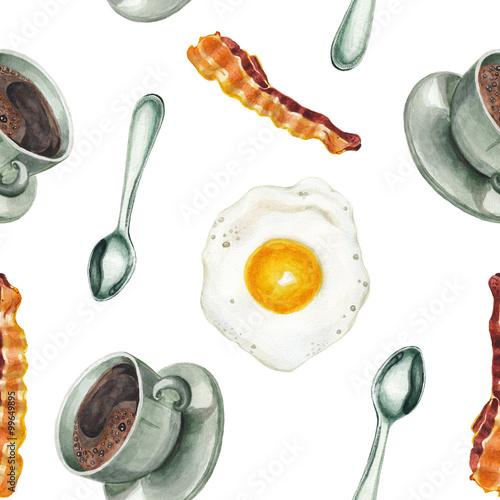 Watercolor breakfast pattern