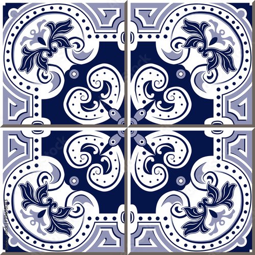 Vintage seamless wall tiles of blue spiral round dot, Moroccan, Portuguese.