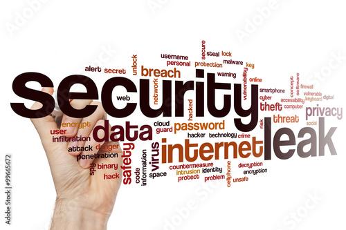 Security leak word cloud concept