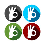 Ok Hand Gesture Circle Icons