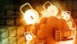 Cloud security concept. Cloud computing with padlock