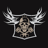 grunge bikers theme emblem with skull,flames and pistons