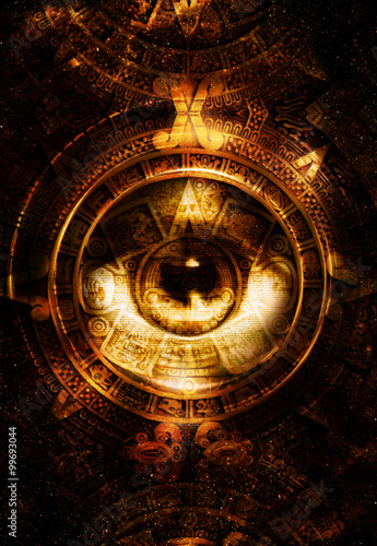 : Ancient Mayan Calendar and woman eye, abstract color Background ...