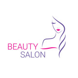 Beautiful woman vector logo template for hair salon, beauty salon, cosmetic procedures, spa center.